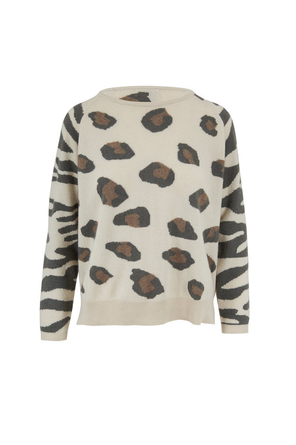 Jumper 1234 Bone Leopard & Tiger Print Cashmere Sweater