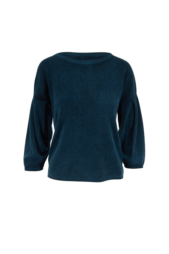 Raffi  Peacock Cashmere Balloon Sleeve Reversible Sweater