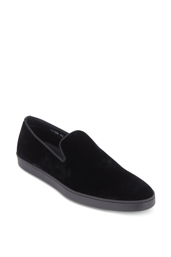 Santoni Muad Black Velvet Loafer
