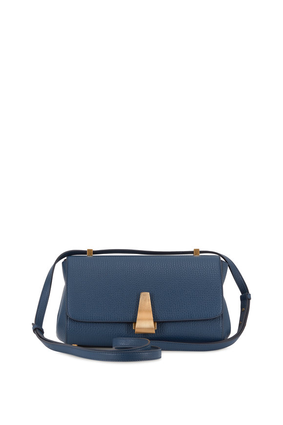 Bottega Veneta BV Angle Deep Blue Palmelatto Front Flap Bag