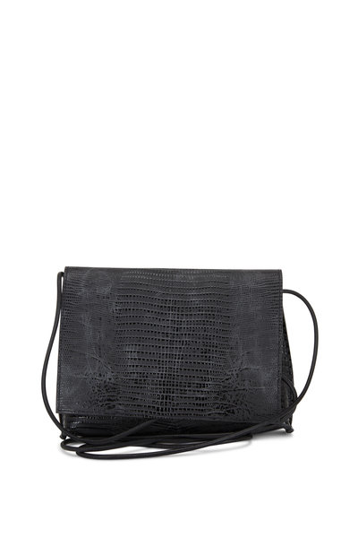 B May Bags - Black Lizard Print Leather Small Crossbody