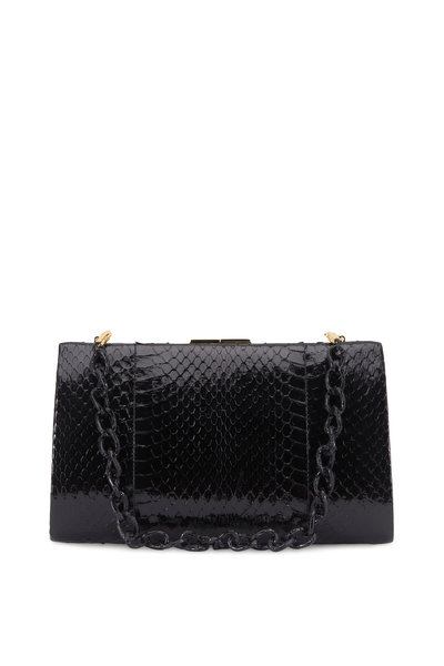 Nancy Gonzalez - Collette Black Snakeskin & Crocodile Frame Clutch