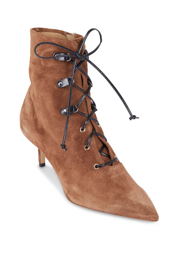 Francesco Russo  Cigar Crust Suede Lace-Up Bootie, 50MM