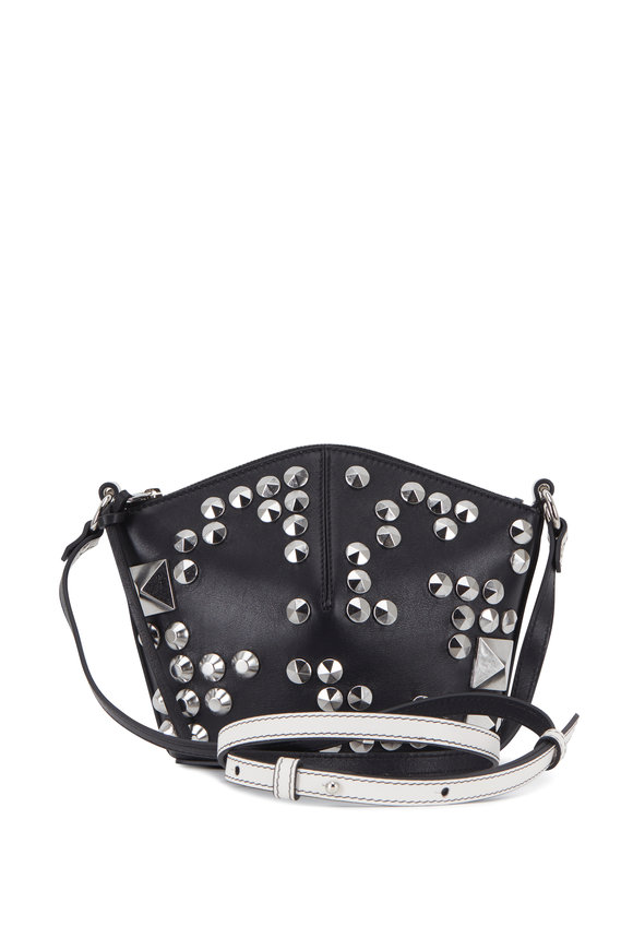Alexander McQueen Black & New Bone Leather Studded Mini Bucket Bag