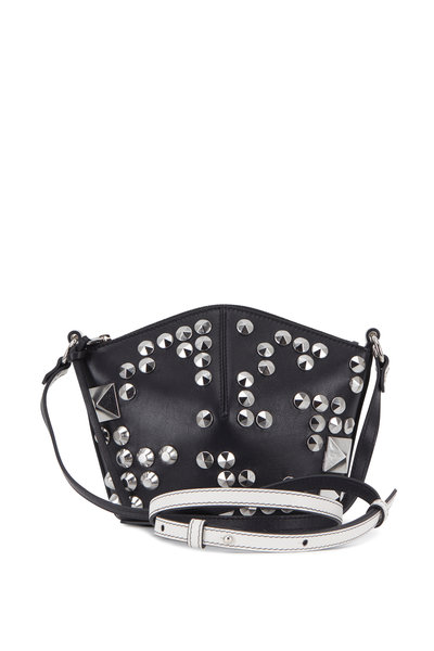 Alexander McQueen - Black & New Bone Leather Studded Mini Bucket Bag