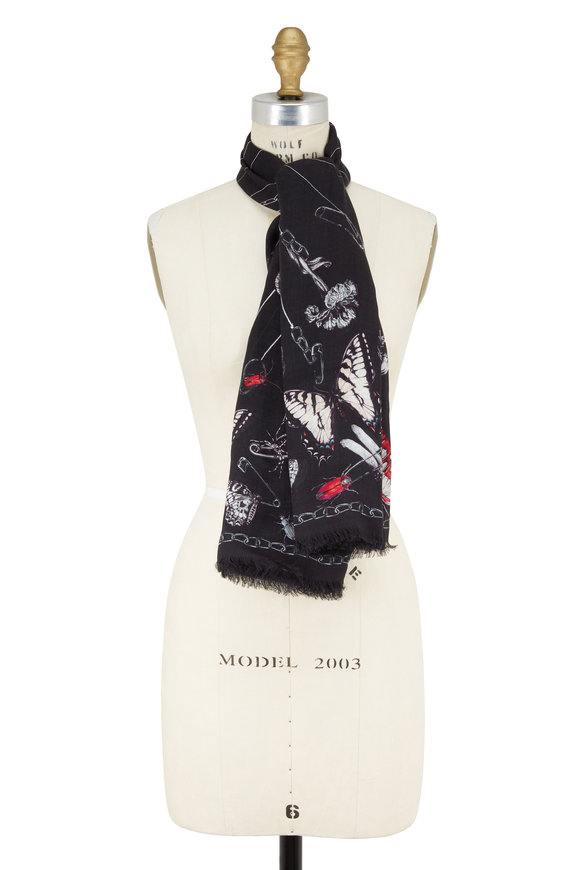Alexander McQueen Black Trapped In The Belljar Print Scarf