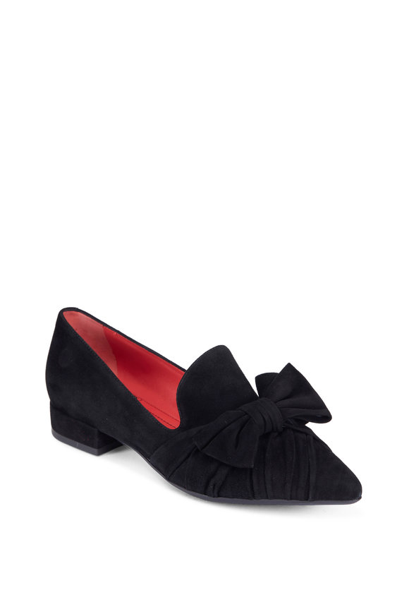 Pas de Rouge Black Suede Bow Flat, 20MM