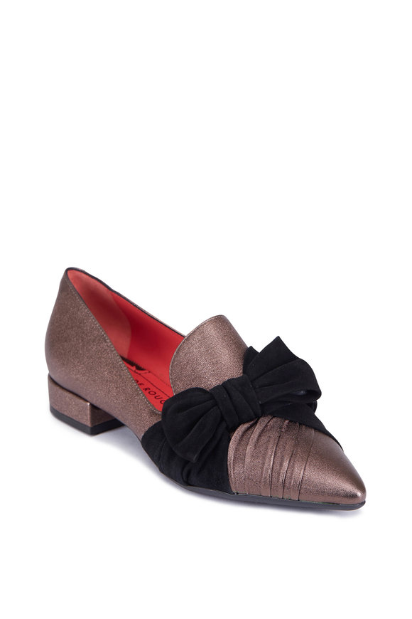 Pas de Rouge Janet Gunmetal & Black Suede Bow Flat, 20MM