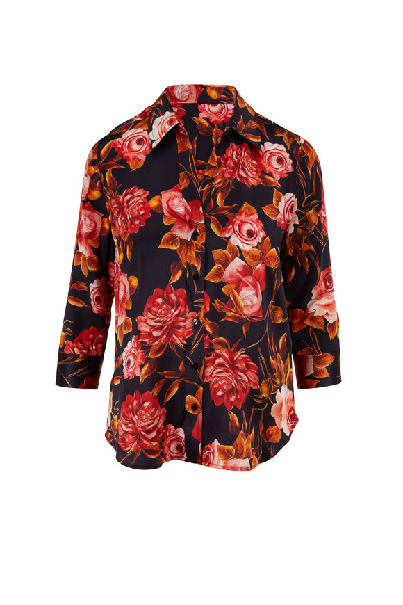 L'Agence Dani Black Silk Rose Print Blouse