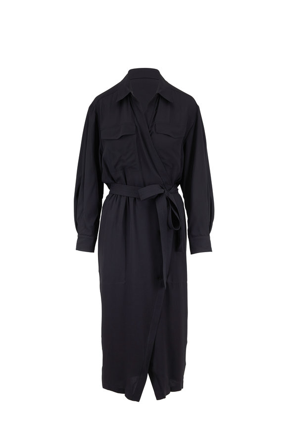 Derek Lam Black Silk Long Sleeve Belted Shirtdress