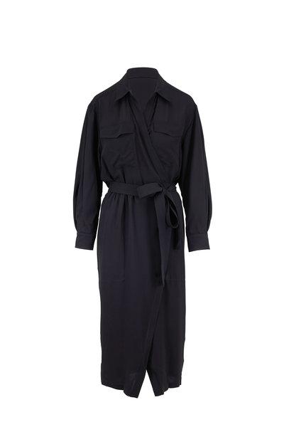 Derek Lam - Black Silk Long Sleeve Belted Shirtdress