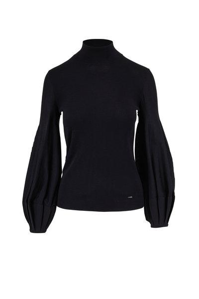Akris - Black Pleated Cuff Mockneck Sweater