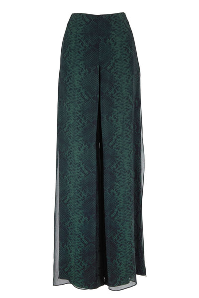 Akris - Pine Silk Python Print Double-Layer Pant
