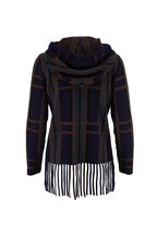 Akris - Navy & Multicolor Plaid Cashmere & Silk Sweater