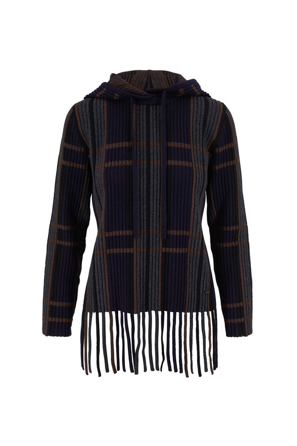 Akris Navy & Multicolor Plaid Cashmere & Silk Sweater
