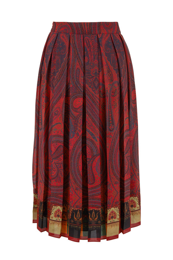 Adam Lippes Rust Paisley Print Pleated Chiffon Skirt