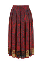 Adam Lippes - Rust Paisley Print Pleated Chiffon Skirt