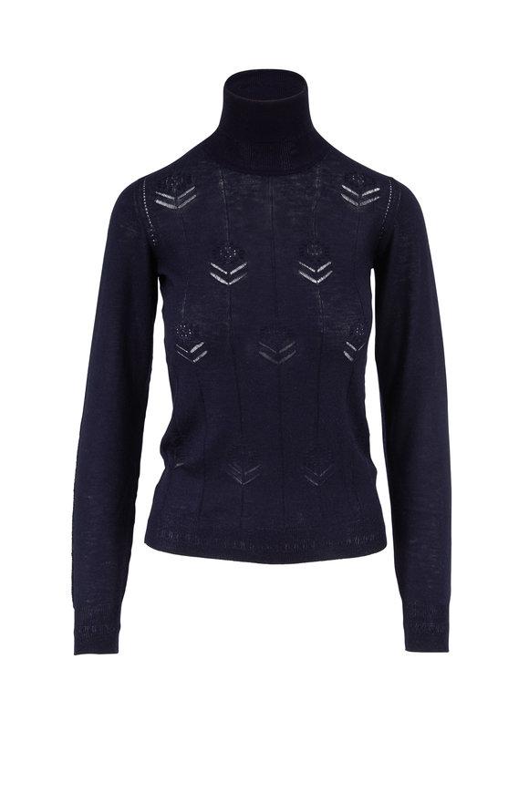 Adam Lippes Navy Lightweight Cashmere Flower Stitch Sweater