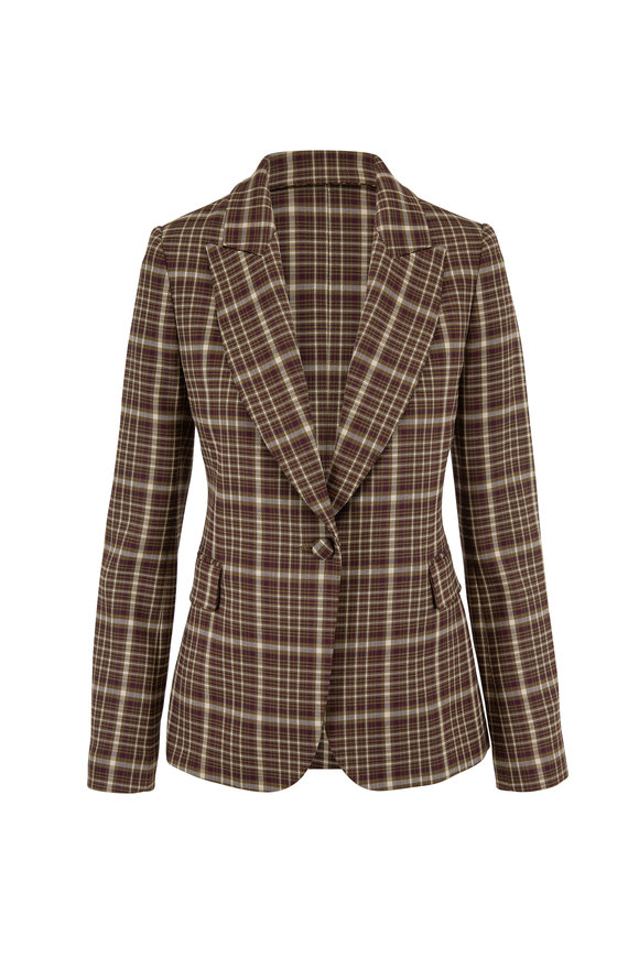 Adam Lippes Olive & Plum Plaid Double-Faced Wool Jacket