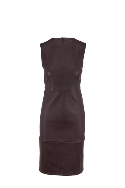 Vince - Dahlia Wine Sleeveless Leather Dress