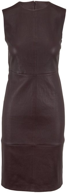 Vince Dahlia Wine Sleeveless Leather Dress