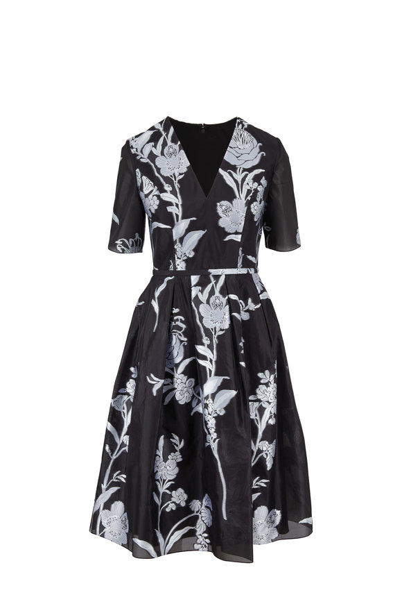 Carolina Herrera Black Floral Embroidered Short Sleeve Dress
