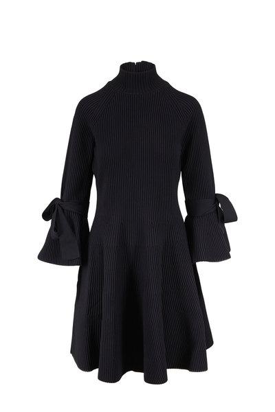 Carolina Herrera - Black Bell Sleeve Ribbed Knit Turtleneck Dress