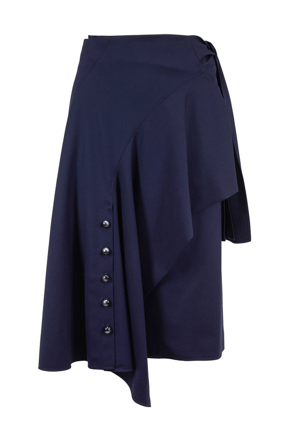 Chloé Stormy Night Wool Flannel Side Tie Skirt