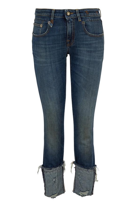 R13 Boy Dark Wash Vintage Blue Cuffed Skinny Jean
