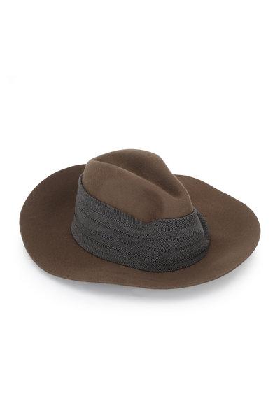 Brunello Cucinelli - Caribou Cashmere Monili Panel Wide Brim Hat