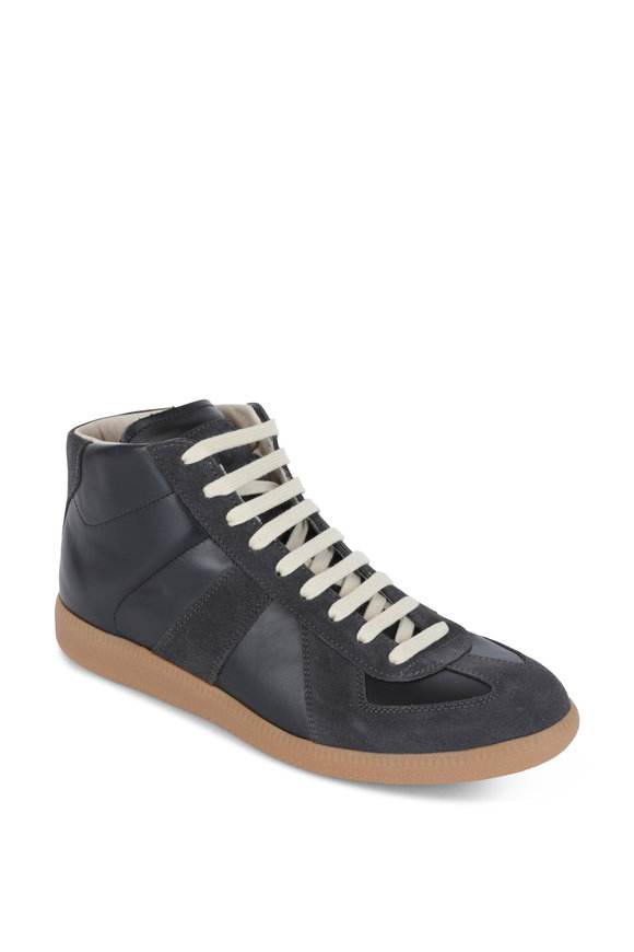 Maison Margiela Black Leather & Suede High Top Sneaker