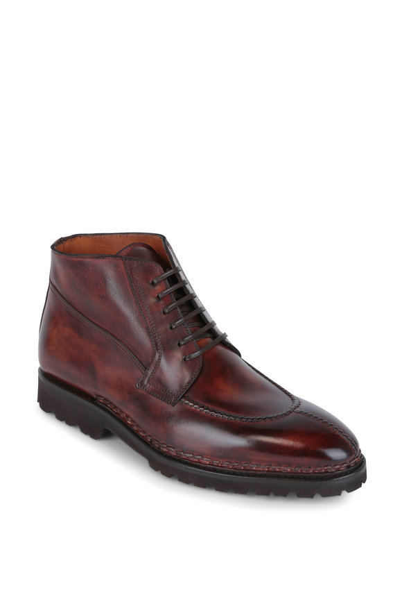 Bontoni Magnifico Cognac Leather Lace-Up Boot