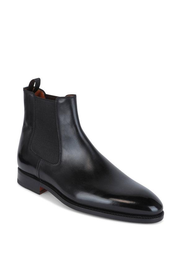 Bontoni Cavaliere Black Leather Chelsea Boot