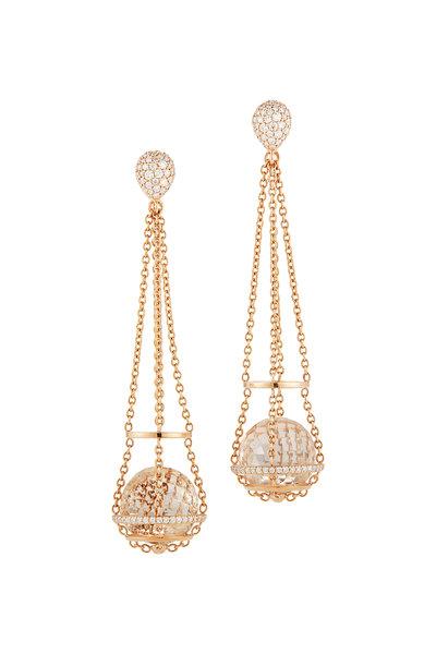Katherine Jetter - 18K Rose Gold Pavé Chain Basket Quartz Earrings