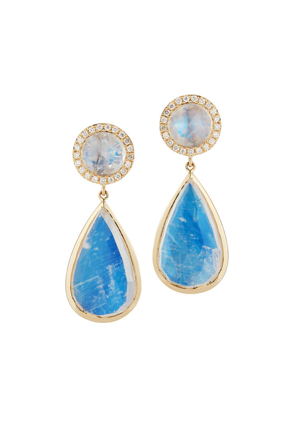 Katherine Jetter Yellow Gold, Moonstone & Diamond Teardrop Earrings