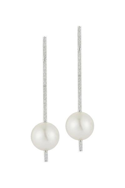 Katherine Jetter - 18K Gold South Sea Pearl & Diamond Bar Earrings