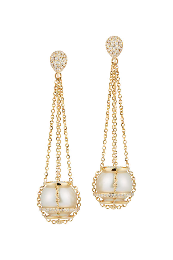 Katherine Jetter Yellow Gold & Pearl Chain Basket Earrings