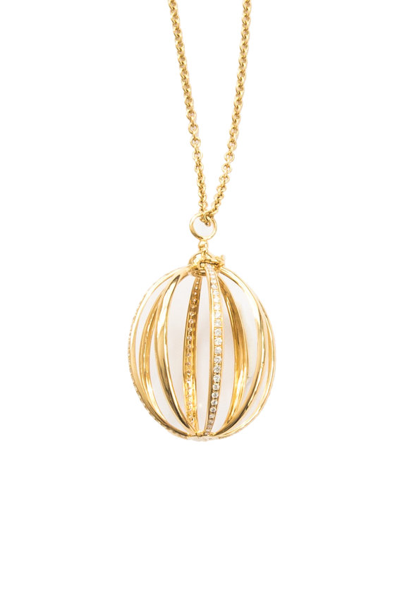 Katherine Jetter Yellow Gold & White Diamond Medium Cage Pendant
