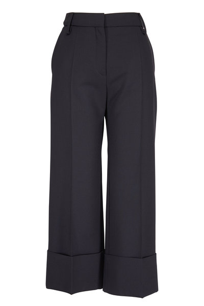 Valentino - Black Wide Cuff Straight Crop Pant