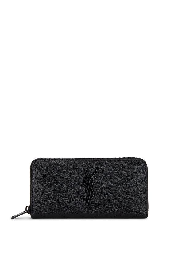 Saint Laurent Monogram Black Grain de Poudre Wallet