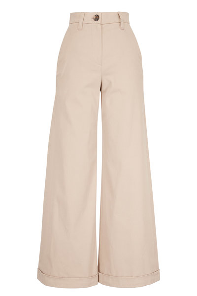 Brunello Cucinelli - Exclusively Ours! Farro Neutral Wide Leg Pant