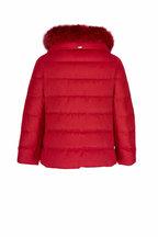 Herno - Red Silk & Cashmere Fox Collar Puffer Jacket