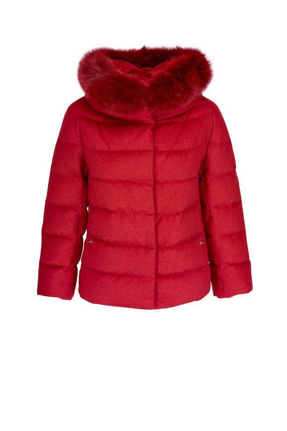 Herno Red Silk & Cashmere Fox Collar Puffer Jacket