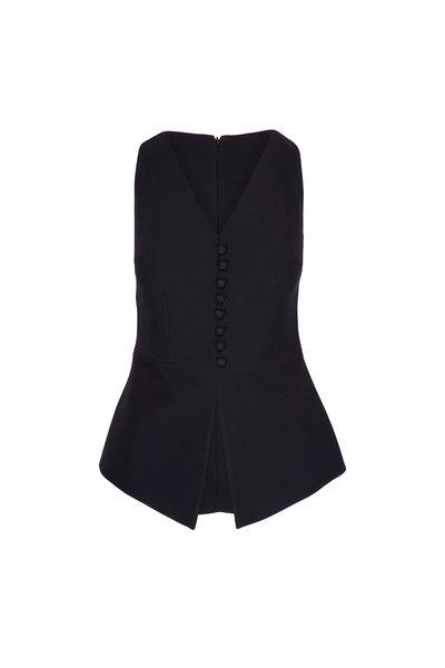 Safiyaa - Black Buttoned Sleeveless V-Neck Top