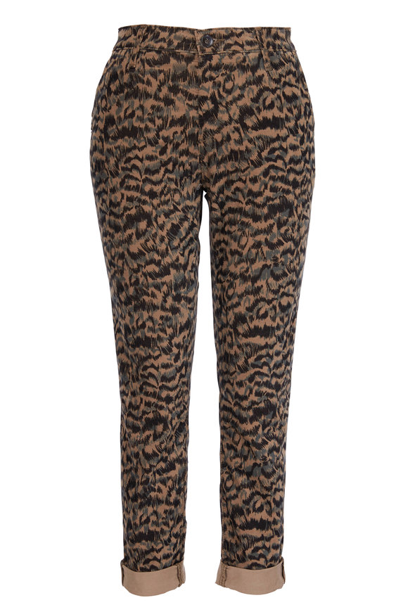 AG - Adriano Goldschmied Caden Corduroy Animal Print Tailored Trouser