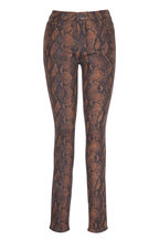 Paige Denim - Brown Coated Snake Print Skinny Jean