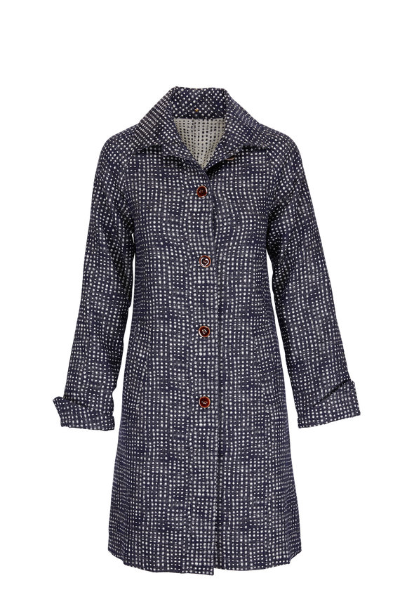 Peter Cohen Midnight Wool Printed Boxy Coat
