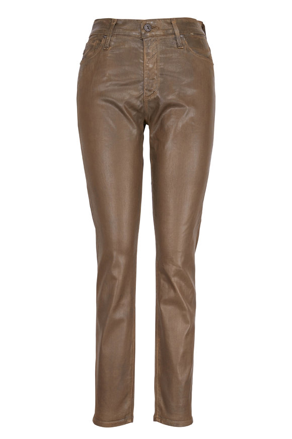 AG - Adriano Goldschmied Farrah Brown Coated Skinny Ankle Pant