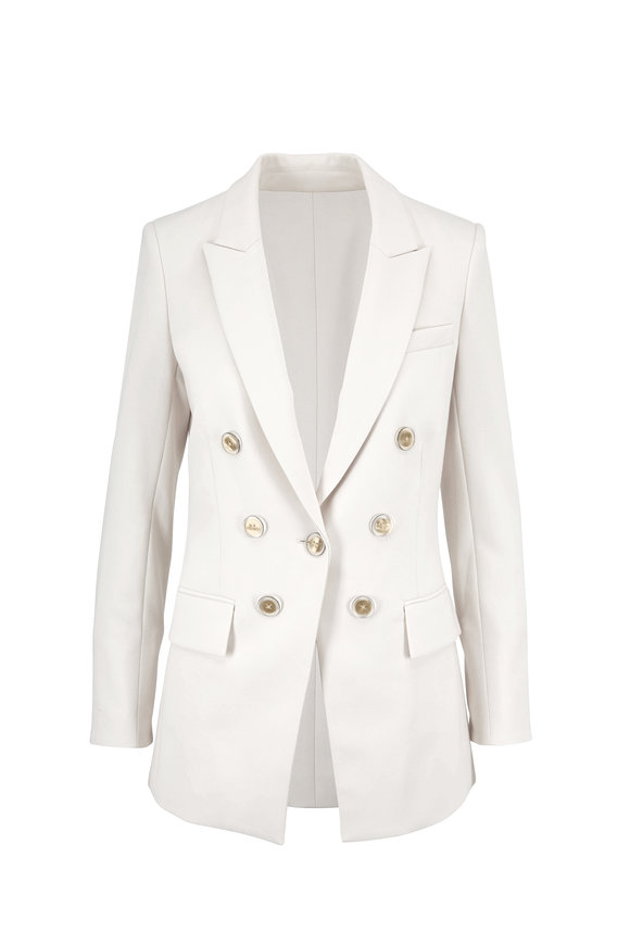 Veronica Beard Matteo Ivory Double-Breasted Peak Lapel Blazer