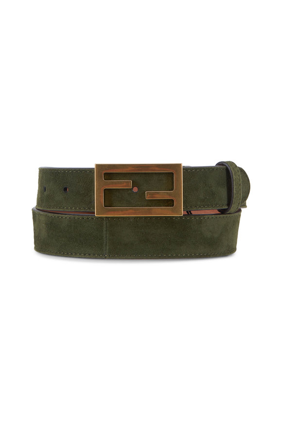 Fendi Maya Amazon Green Suede FF Buckle Belt
